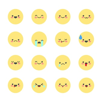 Imposta icone di emoticon per applicazioni e chat emoticon con diverse emozioni