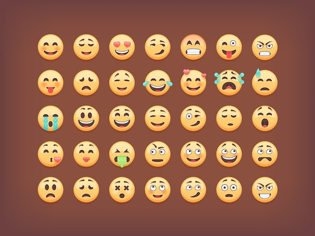 Set di emoticon, icon pack smiley, emoji su sfondo marrone, illustrazione.