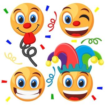 Set di emoticon su sfondo bianco