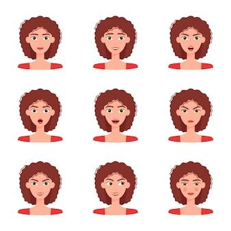 Insieme di emozioni di bella ragazza. raccolta di diverse emozioni femminili, illustrazione vettoriale