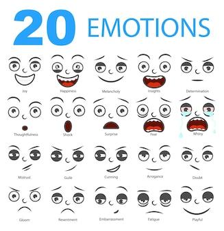 Set di emozioni. avatar isolati con diverse espressioni facciali.