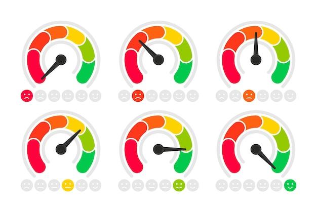 Set di scale di emozioni, concetto di feedback. indicatore di valutazione, icone di smiley come e non mi piace. punteggio di soddisfazione del servizio clienti. il misuratore con emozioni diverse dal rosso al verde