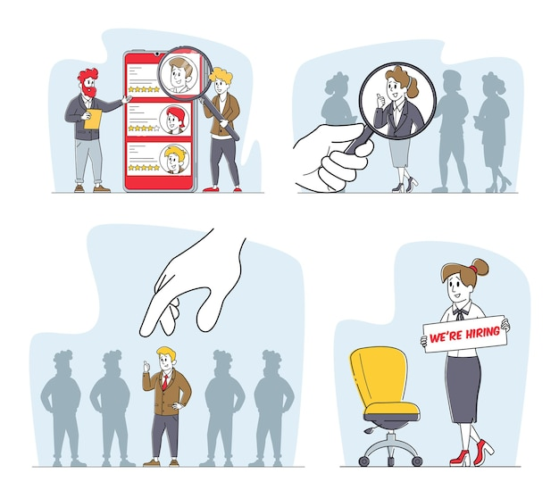 Set di datori di lavoro alla ricerca di candidati, assunzione di lavoro, concetto di caccia alla testa