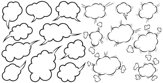 Insieme dei fumetti comici vuoti. elemento di design per poster, t-shirt, emblema, segno, etichetta, banner, volantino. illustrazione vettoriale