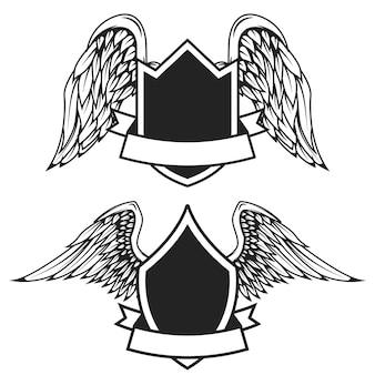 Set di emblemi vuoti con le ali. elementi per logo, etichetta, badge, segno. illustrazione