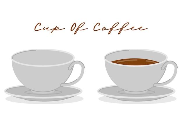 Set di tazze di caffè vuote e piene