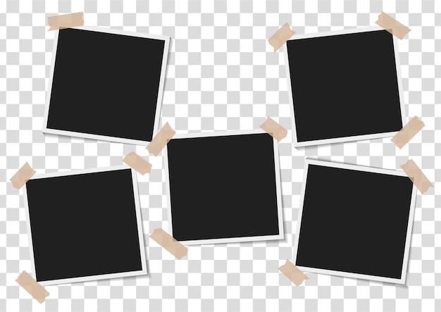 Set di cornici vuote con nastro adesivo su sfondo trasparente