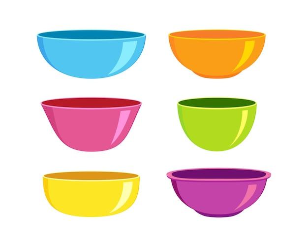 Set di ciotole vuote in plastica o ceramica di forme diverse stoviglie colorate per colazione o cena
