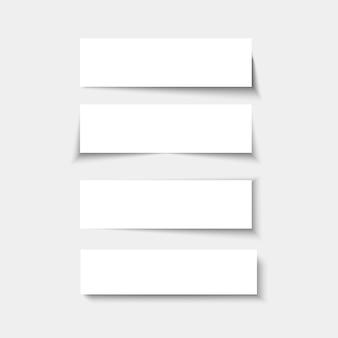 Set di pannelli rettangolari vuoti con le ombre.