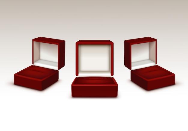 Set di scatola aperta rossa e nera vuota