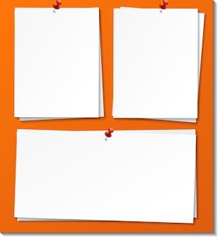 Set di modello di carta vuota nota adesiva Vettore Premium