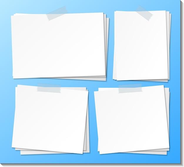 Set di modello di carta per appunti appiccicoso vuoto