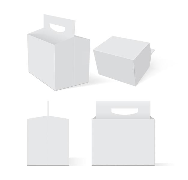 Set di scatole bianche vuote di imballaggi di birra su uno sfondo bianco