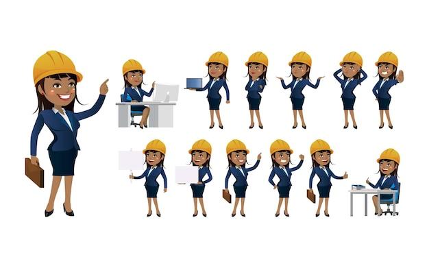 Set di ingegnere con diverse pose