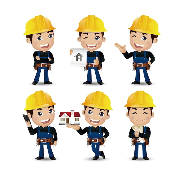 Set di operaio ingegnere