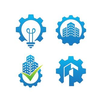 Set di modello di progettazione di logo di ingegneria
