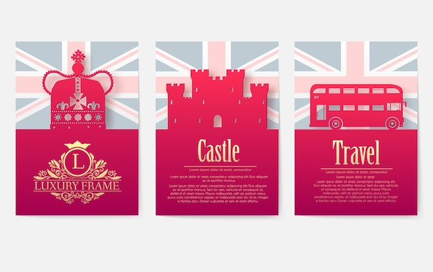 Set di inghilterra paese ornamento illustrazione concetto.