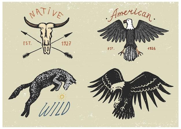 Set di incisioni vintage, disegnati a mano, vecchi, etichette o badge per campeggio, trekking, caccia con aquila calva, lupo selvatico e teschio di bufalo