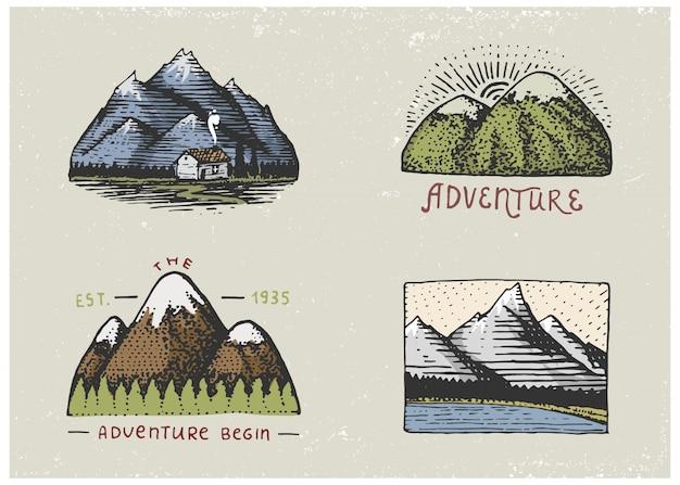 Set di incisioni vintage, disegnati a mano, vecchi, etichette o badge per campeggio, trekking, caccia con picchi di montagna, da sud a nord