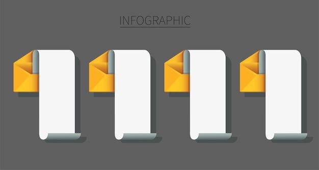 Set di buste con carta per appunti infografica messaggio di posta elettronica concept
