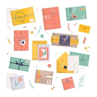 Set di buste. icona per lettera di consegna, lettera di carta artigianale, nastro, rami ed elementi decorativi