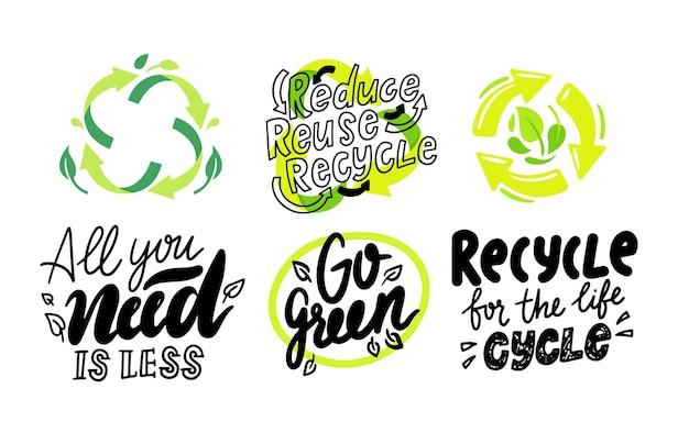 Set di etichette ambientali, segno triangolo riciclabile, rifiuti compostabili, immondizia biodegradabile o logo della lettiera, icone