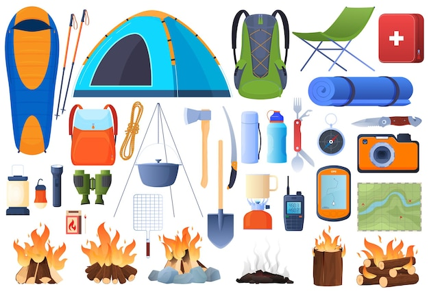 Un set di attrezzature per l'escursionismo. ricreazione. tenda, sacco a pelo, ascia, navigazione, falò, calderone, zaino.