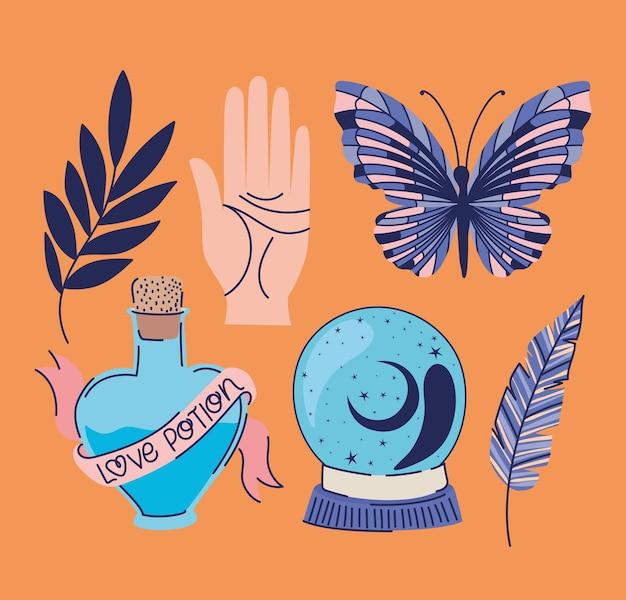 Set di icone esoteriche su un disegno di illustrazione arancione