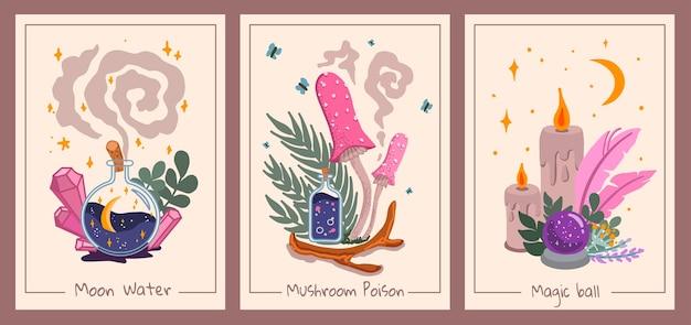 Set di decorazioni da parete esoteriche con palline magiche, funghi, bottiglie e candele, estetica della carta dei tarocchi, stile per bambini, disegnato a mano, vettore, illustrazione, design piatto
