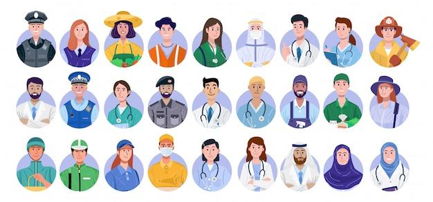 Set di avatar di lavoratori essenziali isolato su sfondo bianco.