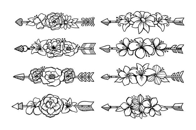 Set di freccia etnica con bouquet floreale