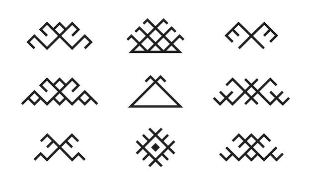 Set di simboli tradizionali popolari etnici baltici