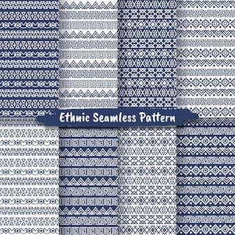 Insieme del reticolo senza giunte etnico in stile nativo, design popolare, motivo tribale, decorativo etnico