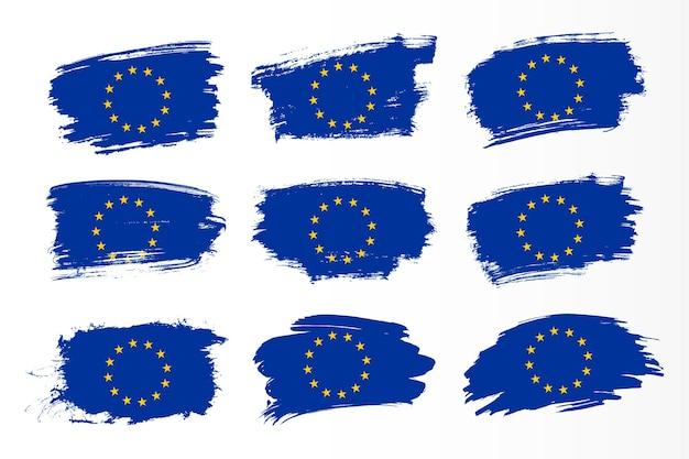 Set di raccolta di bandiere di pennellate dell'unione europea