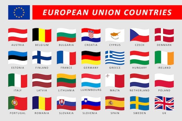 Insieme delle bandiere dell'onda di paesi dell'unione europea