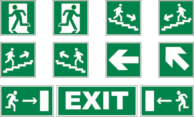 Serie di segnali di evacuazione