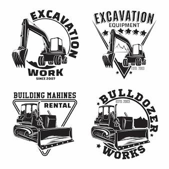 Set di progettazione di emblemi di lavoro di scavo, emblemi di bulldozer o francobolli di stampa di organizzazione di noleggio di macchine da costruzione, attrezzature per la costruzione, emblemi di tipografia di macchine per bulldozer pesanti