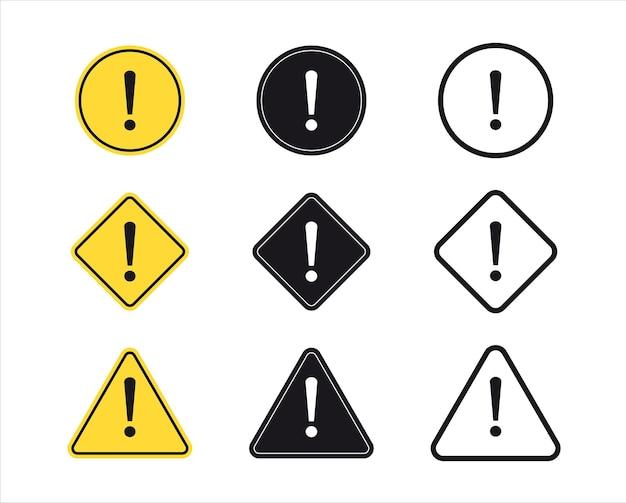 Set di simbolo del punto esclamativo. segno di attenzione. segnale di pericolo, segnale di pericolo. simbolo di avvertimento di pericolo.