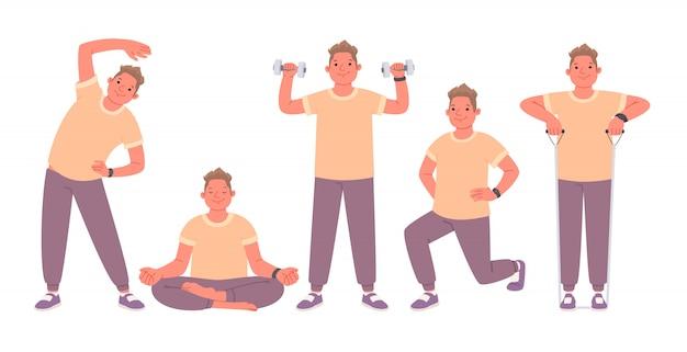 Insieme di esercizi eseguiti da un uomo impegnato nel fitness e nello yoga. ragazzo di carattere felice che conduce uno stile di vita attivo. illustrazione vettoriale in uno stile piatto