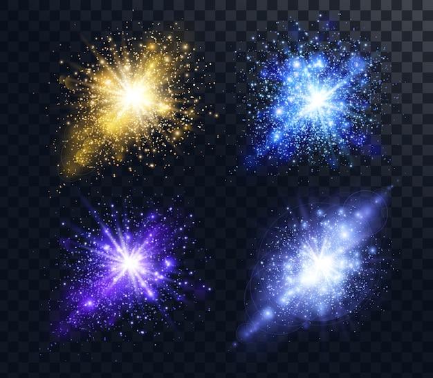 Insieme di esplosioni di particelle scintillanti dorate e blu lucide e glitter