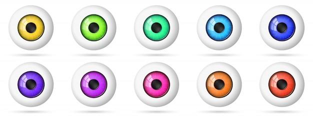 Set di bulbi oculari. icona occhio colorato