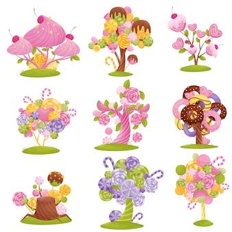 Imposta favolosi alberi e cespugli con cioccolatini, caramelle e ciambelle sui rami. illustrazione su sfondo bianco.