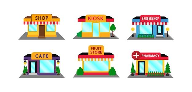 Set di negozio di facciata in stile piatto