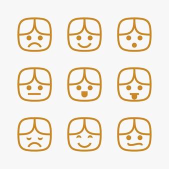 Set di emoticon linea sottile viso bambino