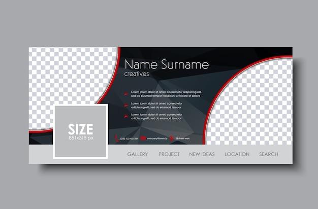 Set di copertina di facebook. modello nero con spazio per immagini ed elementi poligonali.