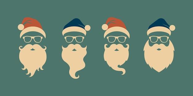 Set di facce con cappelli di babbo natale, baffi e barbe. elementi di disegno di babbo natale. icone di vacanza