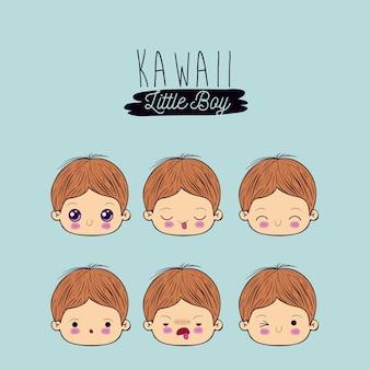 Imposta facciale ragazzino kawaii