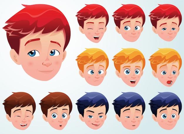 Set di espressioni facciali per un ragazzo carino