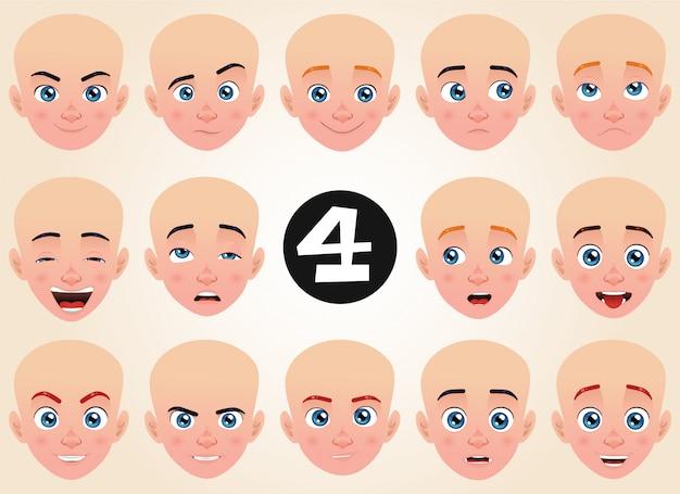 Set di espressioni facciali per un giovane ragazzo