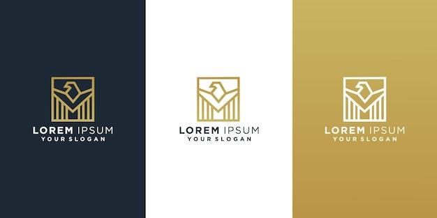 Set di modello di progettazione di logo di falco